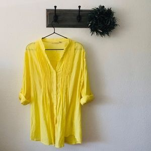 Soft Surroundings Yellow Embroidered Tunic XL